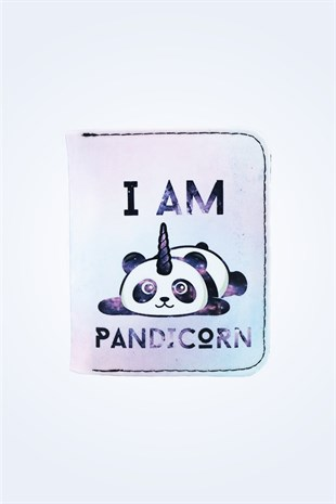 I AM PANDICORN PANDA BASKILI KADIN CÜZDAN